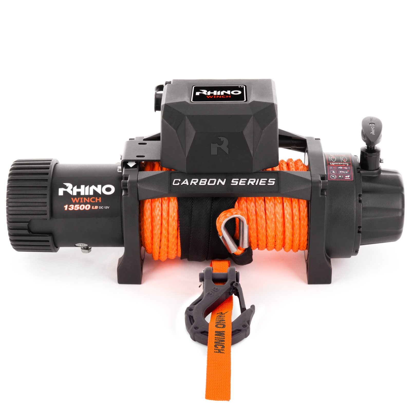 Rhino Winch Co  13,500lb Carbon Series Winch Dyneema Synthetic Rope