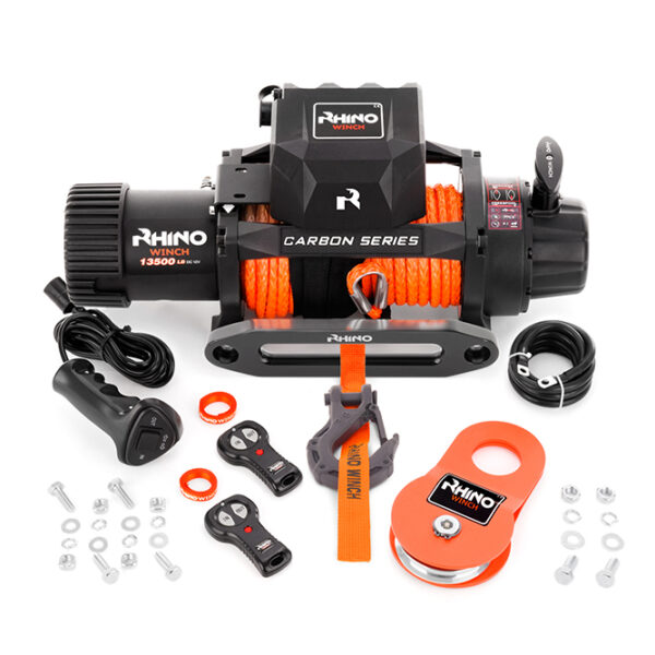 Rhino Winch Co  13,500lb Carbon Series Winch features