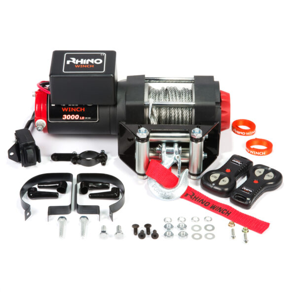 Rhino Winch Co  3,000lb Black ATV Winch features