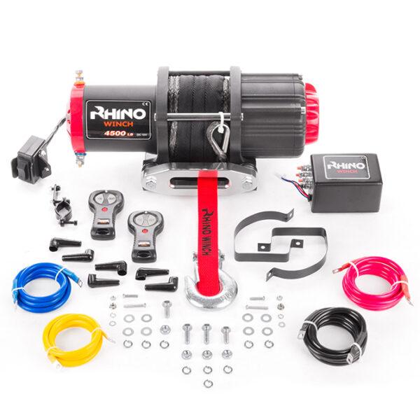 Rhino Winch Co  4,500lb Black ATV Winch features